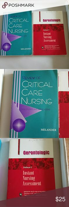 """2 Nursing Books, Critical Care & Geronrology The blue book is """"Review of Critical Care Nursing"""" & the red book is """"Gerontologic Instant Nursing Assessment"""" great if you want to review for boards, has case studies and what to assess for. Nursing books Other"""