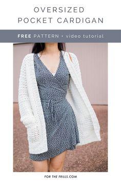 Modern Crochet, Easy Crochet, Crochet Tops, Crochet Sweaters, Crochet Gratis, Free Crochet, Crochet Cardigan Pattern, Sweater Patterns, Crochet Tunic