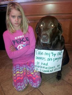 Dog ate my homework…poor thing...look at her face...i mean the kid:)