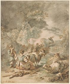 Jean-Baptiste Huet | Boy and Girl, Goatherds in Landscape | Drawings Online | The Morgan Library & Museum