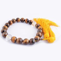 Feng Shui Tiger Eyes Beads with Yellow Tassel Bracelet Chram   One Free Red String Bracelet SkU:H2026 ** New and awesome product awaits you, Read it now  : Home Decor Tassels