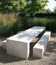 Concrete bench and outdoor table. While age-old with thought, the actual pergola has become experiencing Concrete Bench, Concrete Furniture, Outdoor Garden Furniture, Outdoor Rooms, Outdoor Tables, Outdoor Gardens, Outdoor Living, Outdoor Decor, Modern Outdoor Benches