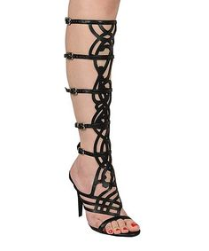 Black Diva Gladiator Sandal by Breckelle's Stiletto heels lend a boost of height to these gladiators, while the strappy design wraps around legs with an adjustable fit and alluring look. Gladiator Heels, Gladiators, Shoe Boots, Shoes Heels, Dressy Sandals, Funky Shoes, So Little Time, Beautiful Shoes, Girly Things