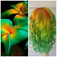 Beautiful flower inspiration and interpretive hair art by Serena Miller color melt green hair yellow hair orange hair hotonbeauty.com