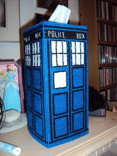 plastic canvas tardis tissue box! (E needs to get his Gma to do this)