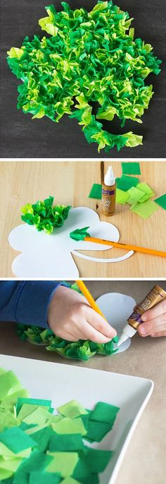 Scrunch Tissue Paper Shamrocks | DIY St Patricks Day Crafts for Toddlers to Make
