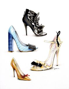 Shoes. Balmain. Louis Vuitton. Miu Miu. Prada. Ink. Colour pencils. Watercolor. Illustration by Viktoriia Janis. 2011