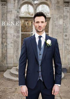 27e5f7da022 Benetti Micro Pattern 3 Piece Navy Suit
