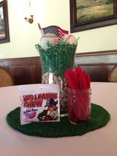 Baseball Party Centerpieces, no fake grass, just peanuts