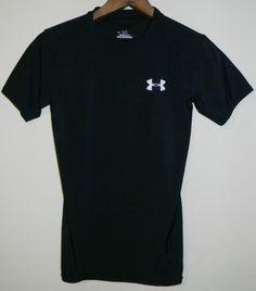 Under Armour Shirt HeatGear Boys s Small Black Compression Sports Baseball Youth | eBay