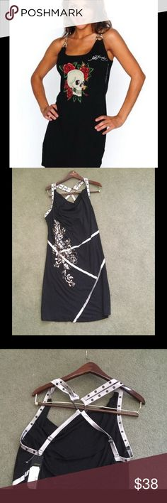Ed Hardy Silver Chain Foil Dress New with tags. First pic for fit only! Foil design , halter style top . Cotton elastin . Large. Ed Hardy Dresses Mini