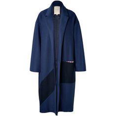 Roksanda Larkin Wool Coat ($1,300) ❤ liked on Polyvore featuring outerwear, coats, coats & jackets, jackets, blue, blue coat, woolen coat, wool cocoon coat, color block wool coat and colorblock coat
