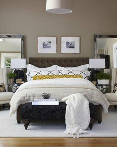 I love the idea of full length mirrors behind the nightstands @Karen Miller