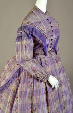 Dress of plaid and warp printed silk taffeta, American, late 1860s, KSUM 1983.1.92 a-c.: