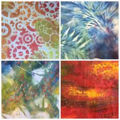 Fabrics created in my Permission to Play Workshop - Waverley Quilters Melbourne http://www.dyedheaven.com/workshops/