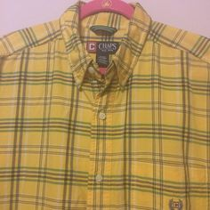 6c9ef007 Bright and bold yellow, green and blue plaid button front shirt with a  button down collar.