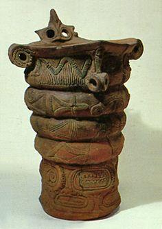 Deep clay pot. Jomon period. Nagano Japan.  BC.3,500 - BC.2,500.