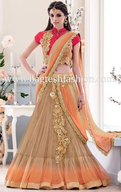 Beige And Orange Net Lehenga Saree
