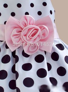 Elegant Dotted Casual Gown Girls Dress With Big Bow Ribbon Party Fashion Clothing - ELL MODA