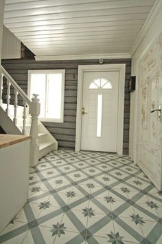 Floor Painted floors Modern Floor Design Ideas, Pictures, Remodel, and Decor - page Floor design Hall Flooring, Kitchen Flooring, Entry Hallway, Foyer Staircase, Painted Floors, Painted Stairs, Natural Flooring, Interior Decorating, Interior Design