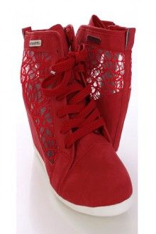 Red Faux Leather Sneaker Wedges