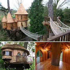 This awesome arboreal dwelling is the Living the High Life Tree House created by Blue Forest, a British tree house design and construction firm. It's a luxury family-sized complex featuring two separate tree houses, one for kids and one for their parents. Luxury Tree Houses, Cool Tree Houses, Style At Home, Future House, Tree House Designs, Play Houses, Dog Houses, My Dream Home, Tiny House
