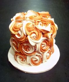 Burnt Orange Roses  Cake by CakeLifeChaos