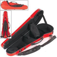4/4 Core Shaped Fiberglass 430F Violin Case, Black Interior, Red Exterior at Johnson String Instrument