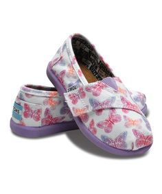 we got our TOMS!! Take a look at this Purple Butterfly Canvas Classics - Tiny by TOMS Kids on @zulily today!