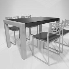 Mesa Living para cocina en cristal negro brillo
