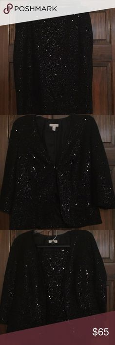 Black Sequin jacket & skirt Black sequin jacket & skirt - lined & never worn Charter Club Skirts Skirt Sets