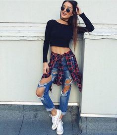 general idea- black long sleeves, flannel, ripped jenas, converse, sunglasses and converse