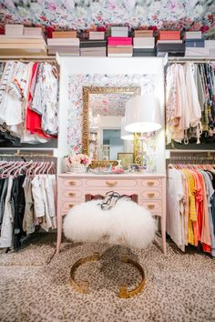 The Greenway Parks pad was gloriously transformed with pieces from Ashley Longshore, Arteriors, and plenty of pretty wallpaper. Dressing Room Closet, Dressing Rooms, Dressing Area, Leopard Bedroom, Leopard Carpet, Dream Closets, Open Closets, Closet Vanity, No Closet Solutions