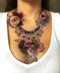 Bohemain style Shabby chic and playful necklace is constructed from various vintage and contemporary textiles and findings- antique handmade needle lace trim, tatted trim, hand dyed silk ribbon and natural fur. Braided, twisted, hand sewn. Adorned with linen sculpted petals, dusty