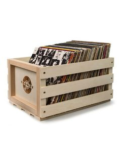 Wooden record storage crate