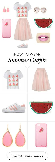 """""""A fun watermelon outfit all ready for summer """" by charlimatisse on Polyvore featuring Ally Fashion, Ted Baker, adidas Originals, Chloé, Kate Spade and Fiebiger"""