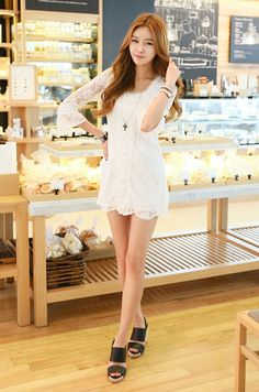 A white lace dress. Perfect for an evening coffee
