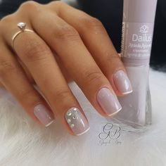 This nail art includes everything from intricate designs to a simple one color set up with high quality nail lacquer. SIMILAR natural summer pink nails design for short NEXT→→→ Great Nails, Fabulous Nails, Love Nails, Pink Nails, My Nails, Square Nail Designs, Nail Art Designs, Bridal Nails, Wedding Nails