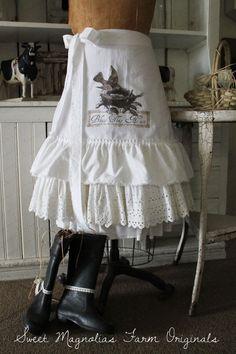 """Flour Sack Apron Shabby Farmhouse ...""""Bless This Nest"""" by SweetMagnoliasFarm"""
