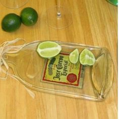 Flatten bottles in your oven! -don't know if this would work on Patrón bottles..