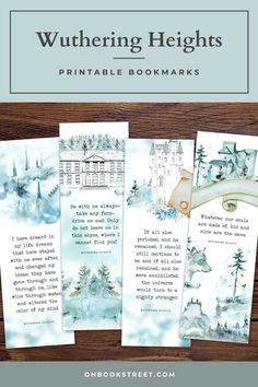 If you love Emily Bronte's Wuthering Heights, this printable bookmark set is for you. Featuring book quotes from Emily Bronte's famous classic novel, these bookmarks make great reading companions as well as book lovers gifts or small literary favors for any bookworm. | literary gifts for a bookworm, literature themed gifts, bookmark gifts, classic literature gifts