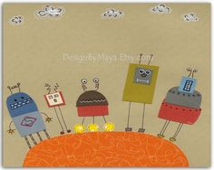 Bbaby boy room art, Nursery Decor Art for Kids Room, robot nursery...The Metal Gang. $17.00, via Etsy.