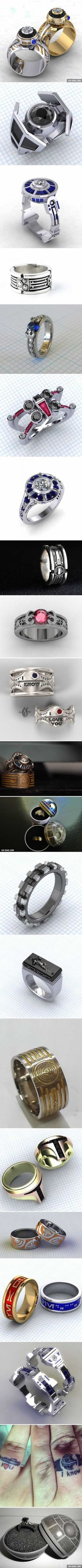 21 Most Romantic Star Wars Wedding Rings <----- if anyone propose me with one of these rings there is a 99% chance i'm going to marry him. Guys take  note. ;)
