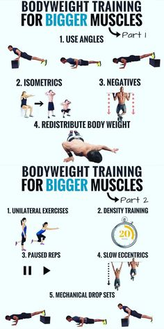 Body weight exercises get results partly because they involve compound movements—meaning numerous joints and muscles are engaged in each move. Compound exercises such as push-ups and lunges have been…More Plyometrics, Calisthenics, Gain Muscle, Build Muscle, Muscle Building, Pilates Training, Compound Exercises, Body Weight Training, Big Muscles