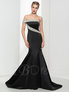 Tbdress.com offers high quality Mermaid Crystal One-Shoulder Pearls Court Train Evening Dress Latest Evening Dresses unit price of $ 136.99.