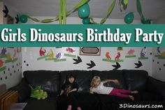Girls Dinosaur Birthday Party - Lots of ideas and how to do them! 3 Dinosaurs.com