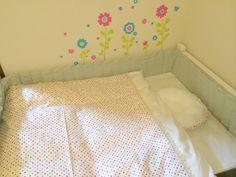 ベビーベッド完成〜♡ 掛け布団カバーと枕、サイドガードを縫いました*^^*