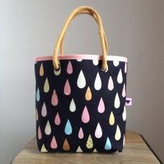 Sac cabas fillette, gouttes multicolores