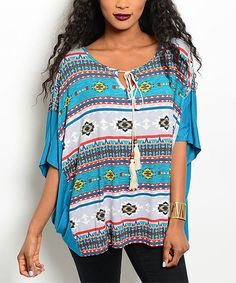 $14.99 Look at this #zulilyfind! Turquoise Geometric Cape-Sleeve Tunic #zulilyfinds