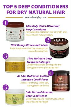 TOP 5 Deep Conditioners for DRY Natural Hair: A good deep conditioning treatment is necessary for any healthy hair. Deep conditioners are formulated with ingredients that mimic the chemical substances that are found on the hair. Natural Hair Care Tips, Natural Hair Regimen, Pelo Natural, Natural Hair Tips, Natural Hair Styles, Going Natural, Natural Black Hair, Natural Hair Treatments, Natural Oil